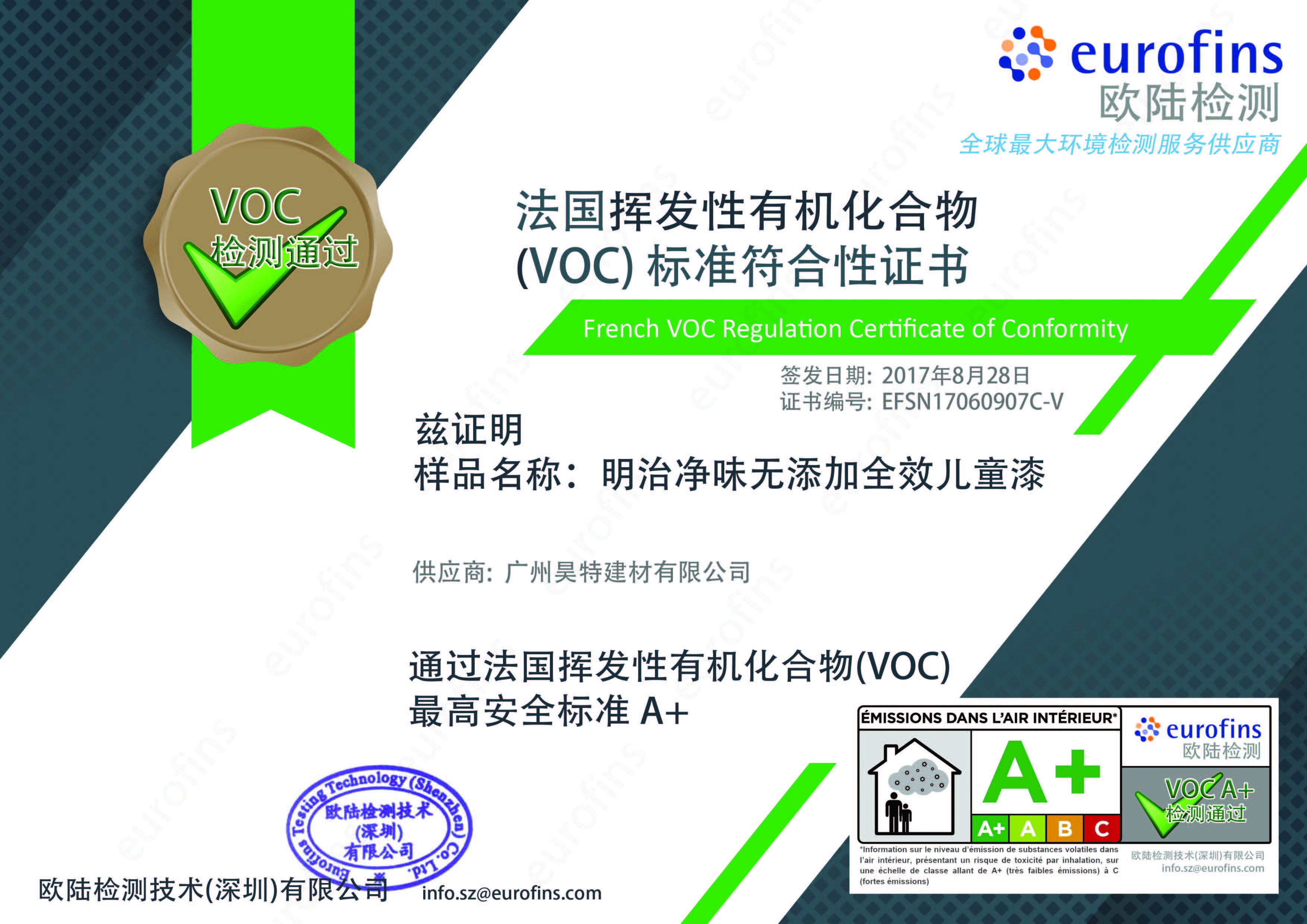 法国挥发性有机化合物(VOC)标准符合性证书